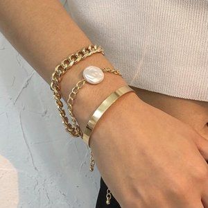 Chunky Gold Chain Pearl and Cuff Bracelet